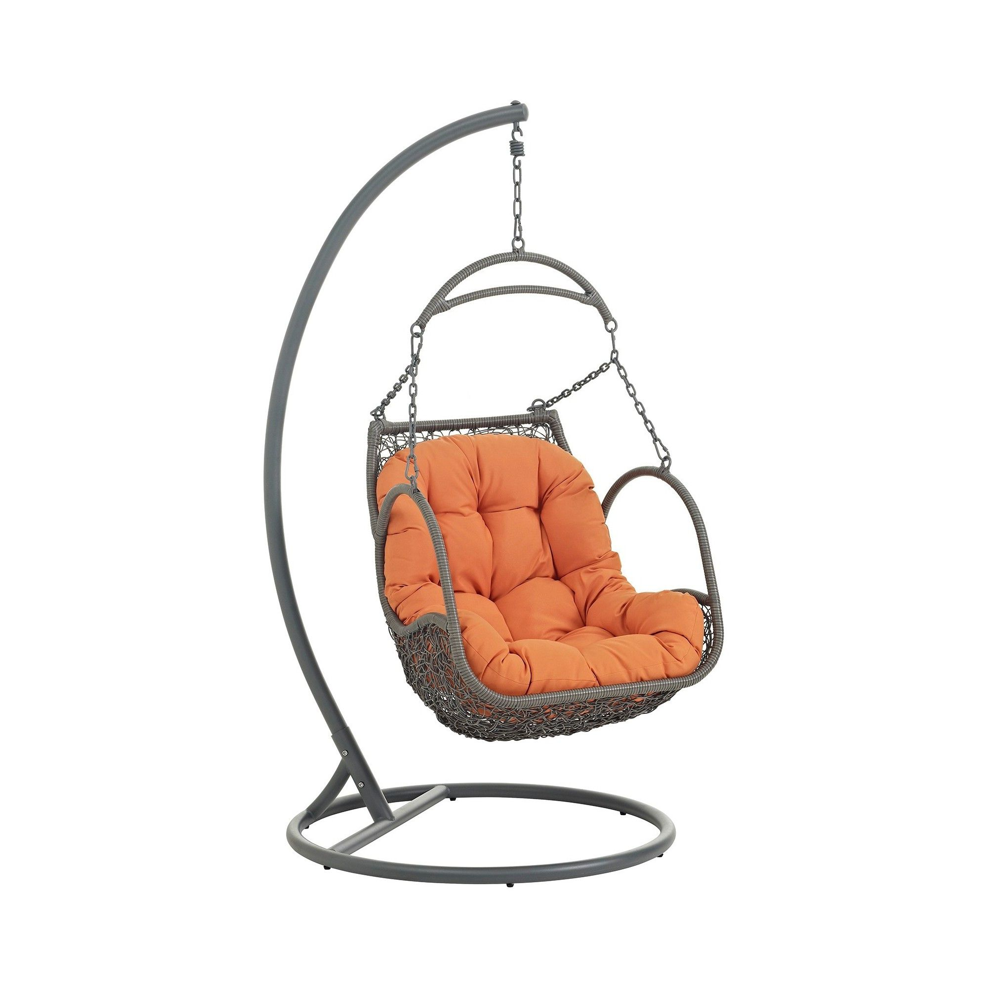 Arbor outdoor patio wood swing chair in orange modway wood swing