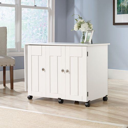 Sauder Sewing Craft Cart In Soft White Sauder Sewing Craft Cart in Soft White Diy Craft Table craft armoire with fold out table diy