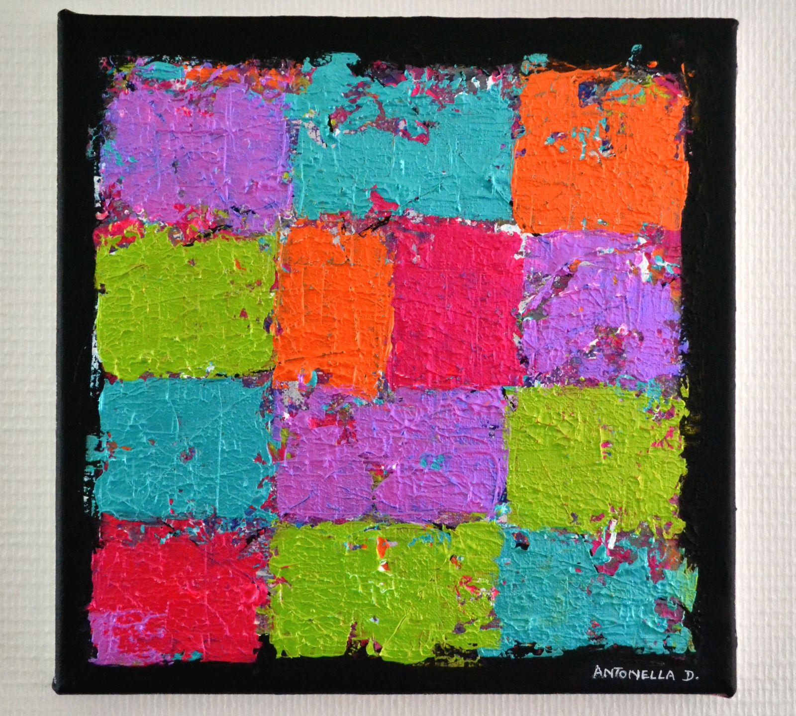 Tableau moderne abstrait coloré - Tableau contemporain colorée 30x30 ...