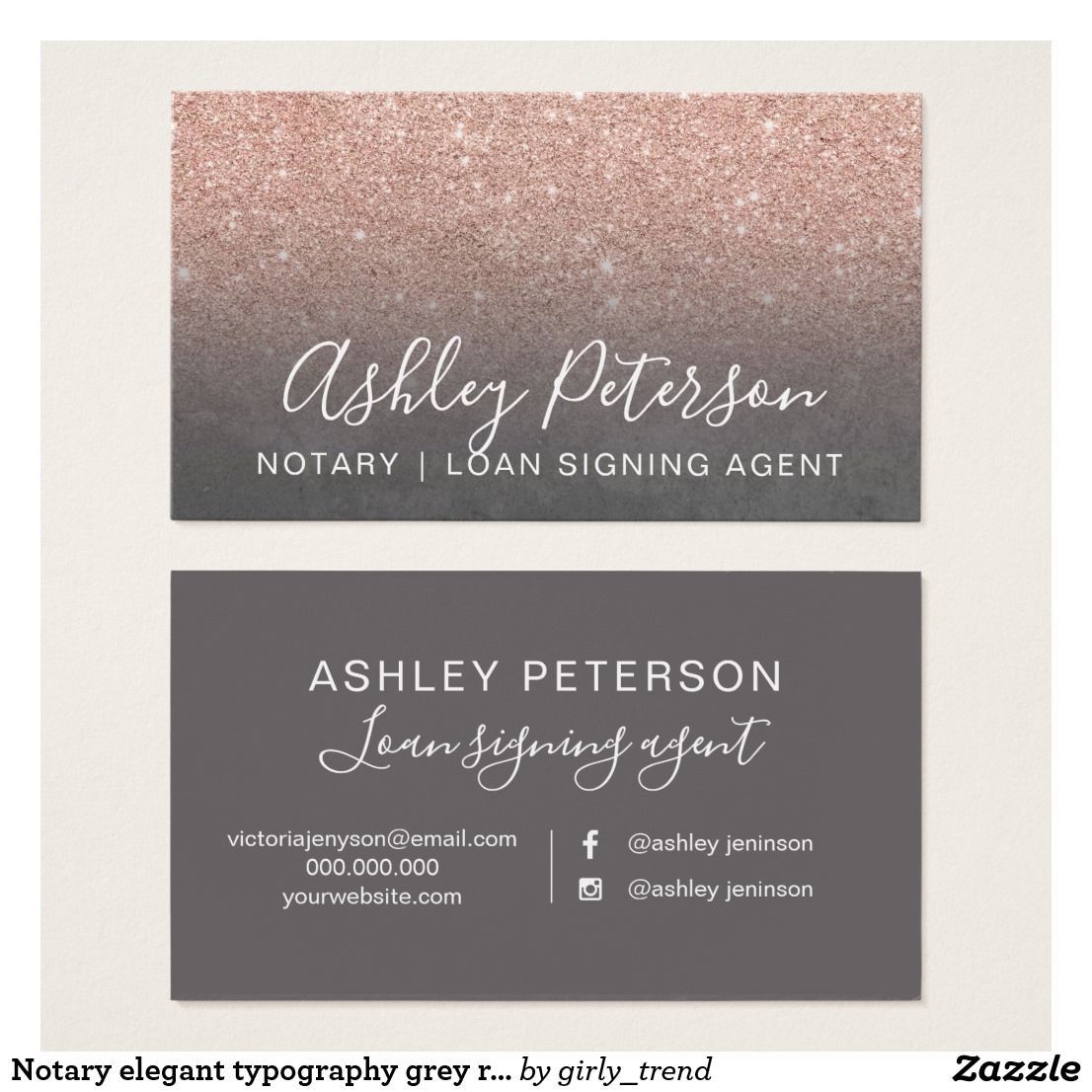 Notary elegant typography grey rose gold glitter business card ...
