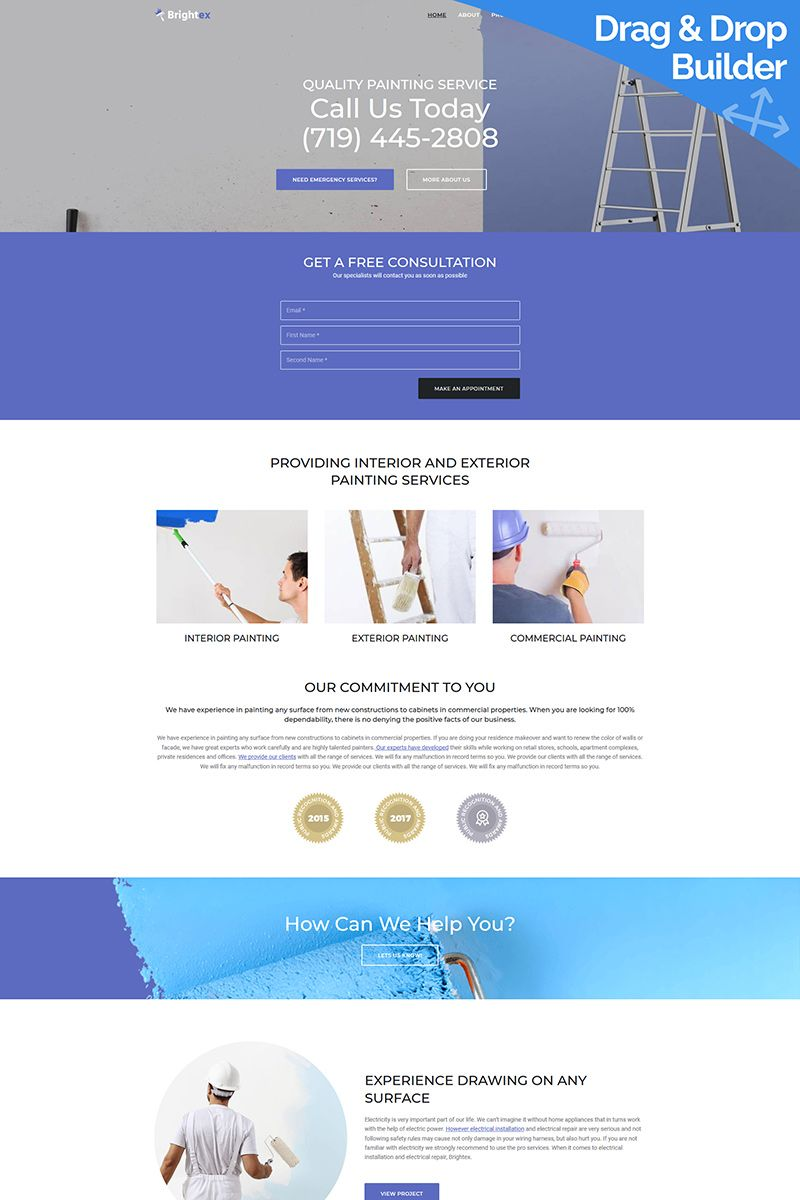 Brightex Painting Services Moto Cms 3 Template 79029 Painting Services Hosting Budget Web Design Software
