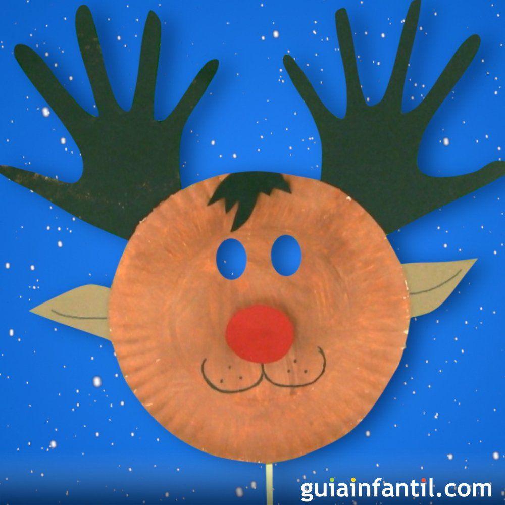 Cómo Hacer Una Máscara De Rodolfo El Reno Para Navidad Navidad Preescolar Reno Manualidades