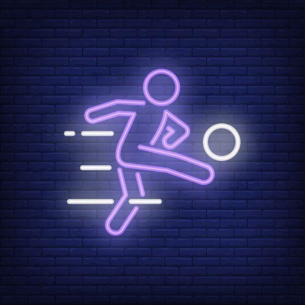 Football Club Neon Sign Soccer Ball Shape On Brick Wall Background