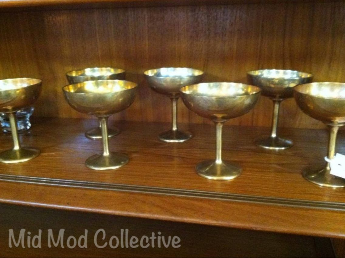 Vintage brass stemware. Available now at Mid Mod Collective. Email midmodcollective@gmail.com for more info. SOLD!