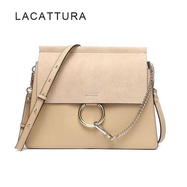 19a82c4e7f LACATTURA Hot Sale Famous Brand Design Women Handbag High Quality Genuine  Cowhide Leather Cloe Bag Casual Chain Shoulder Bag