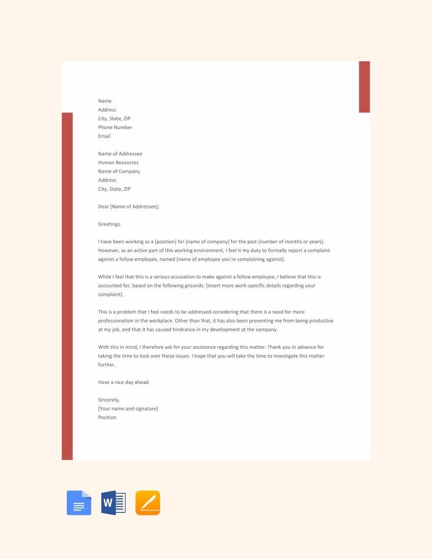 Free Employee Complaint Letter Employee Complaints Letter