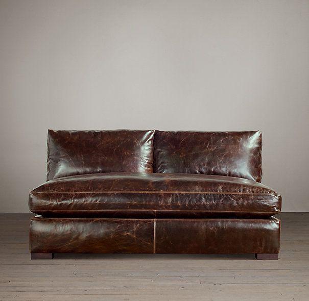 Armless Leather Chairs maxwell leather armless sofa | incline house ideas | pinterest