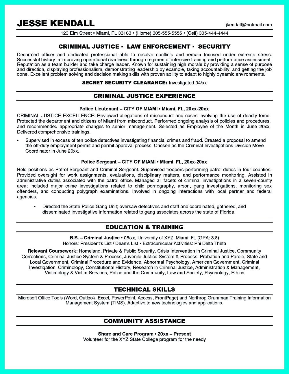 Criminal justice resume uses Summary section of the qualifications ...