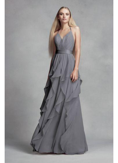 9bac7b91b50 Chiffon Dress with Cascading Ruffled Skirt VW360326. Chiffon Dress with  Cascading Ruffled Skirt VW360326 Vera Wang Bridesmaid