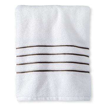 Luxury Stripe Accent Bath Towels Fieldcrest White Towels