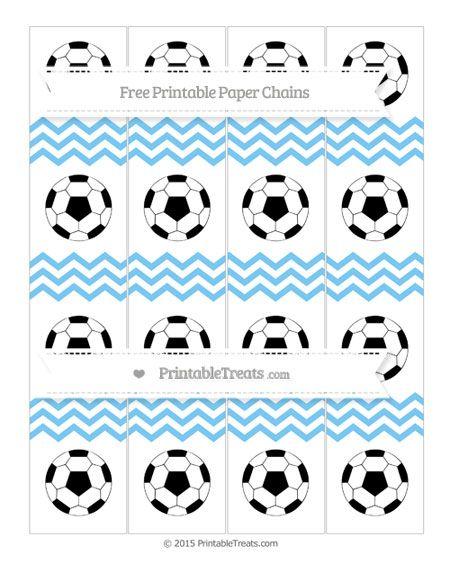 Pastel Light Blue Chevron  Soccer Paper Chains