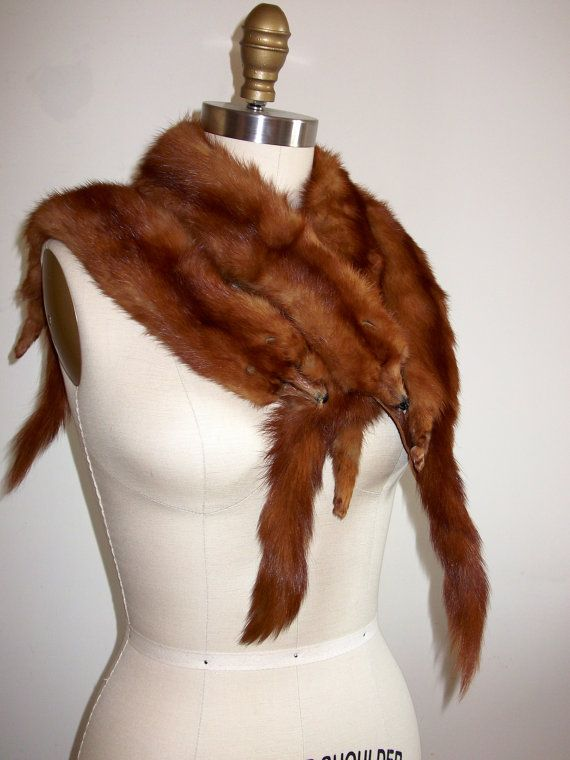 1aedcb7761d Vintage Mink Stole -1950s. Grandma s wore these over their winter coats.  The little dangling feet always grossed me out.
