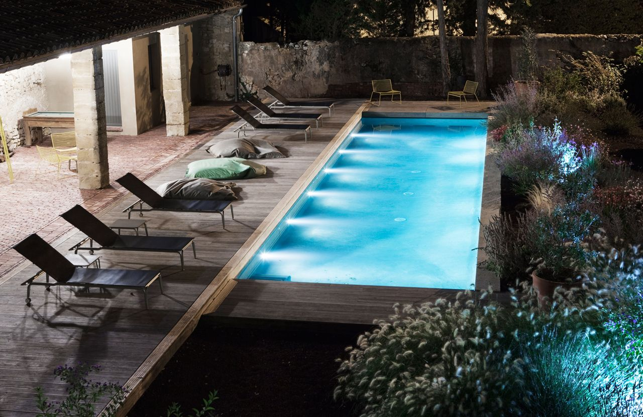 Our Heated Pool At Night Boutiquehotel France Provence Pool At Night Swimming Pools Pool
