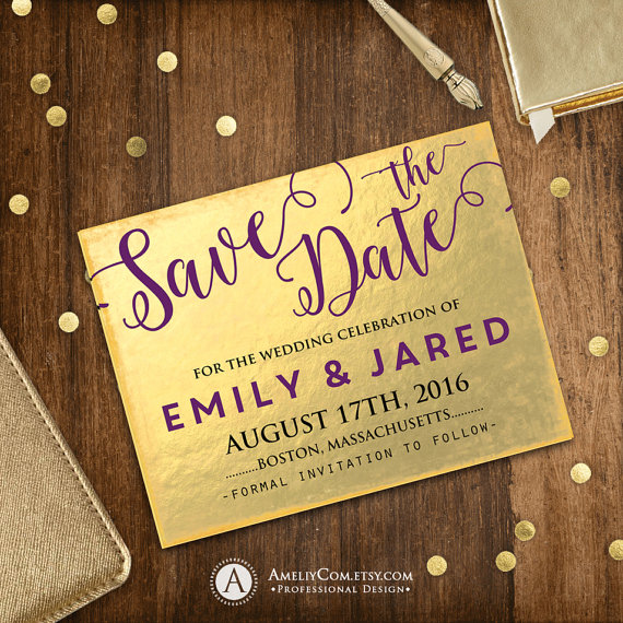 Wedding Entourage Hairstyle: Printable Save The Date Card Gold Faux Foiling