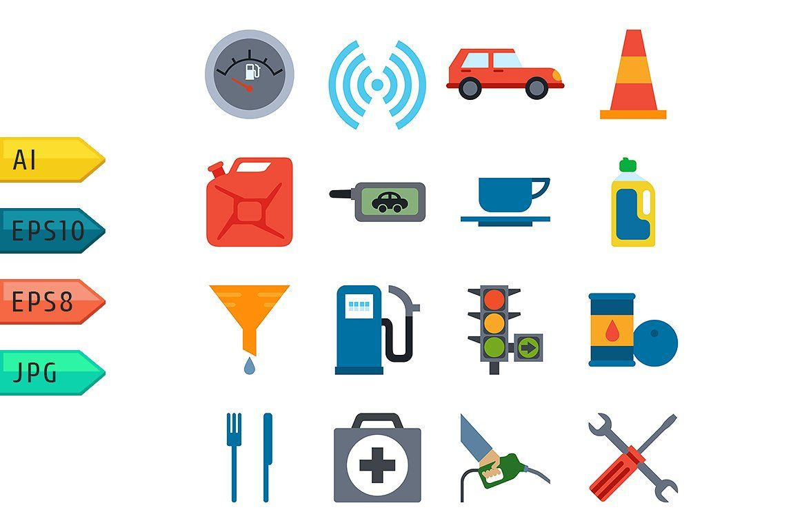Fuel Pump Gas Station Icons Template Allowing Combined Creating
