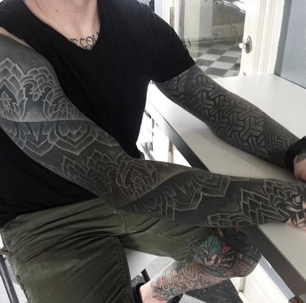 Heavy Blackwork Sleeve By Nathan Mould Black Sleeve Tattoo Black White Tattoos Sleeve Tattoos