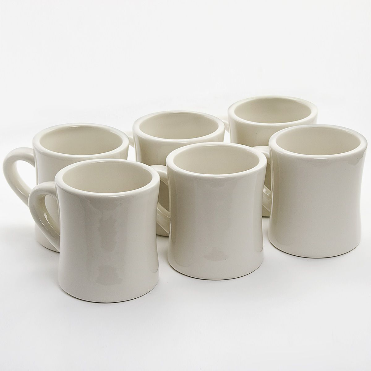 White Ceramic Coffee Cups Diner Coffee Mugs 6 Set Cream Ceramic 50s Kitchen