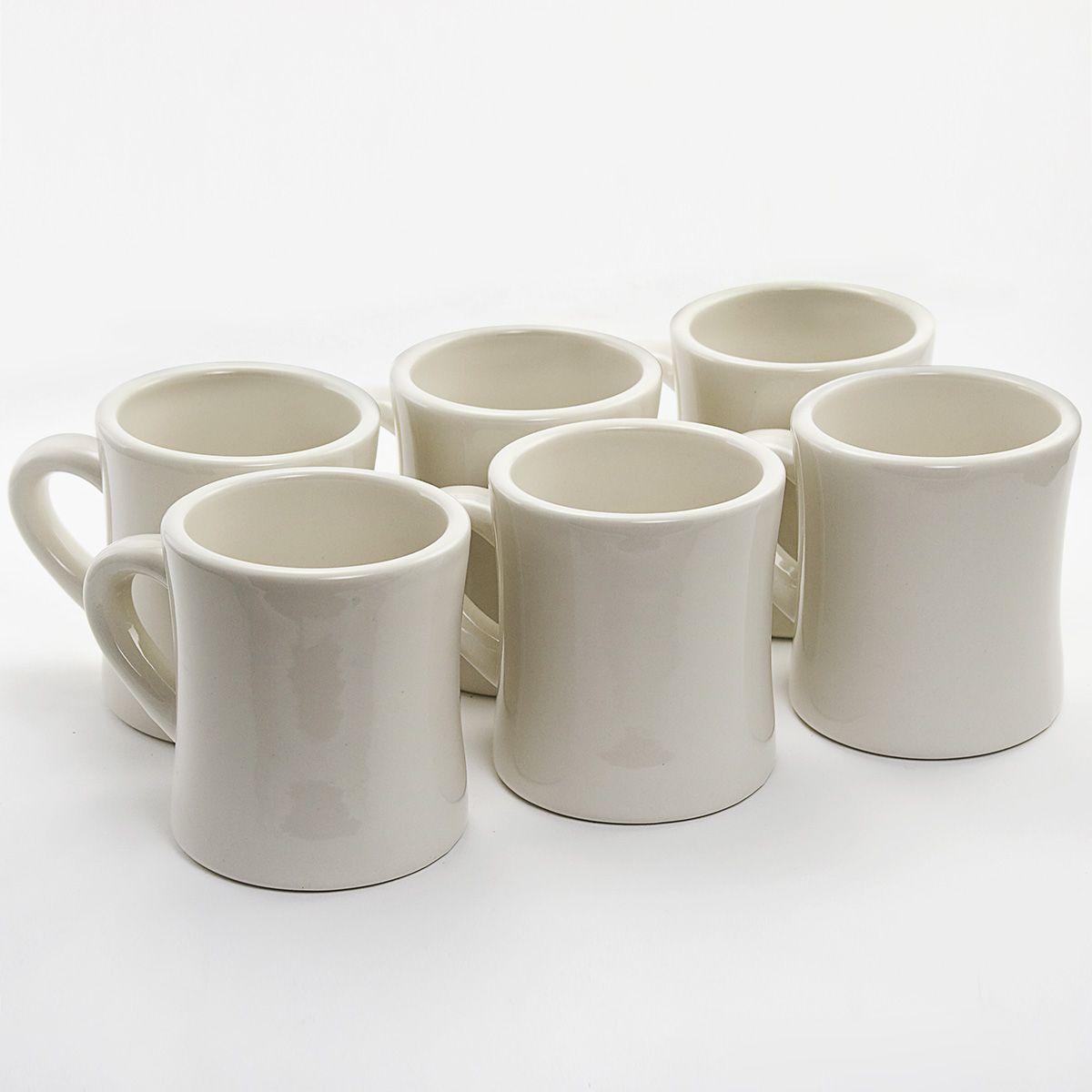 Diner Coffee Mugs 6 Set Cream Ceramic Best Service
