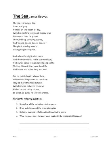 The Sea by James Reeves | Figure of speech | Metaphor poems