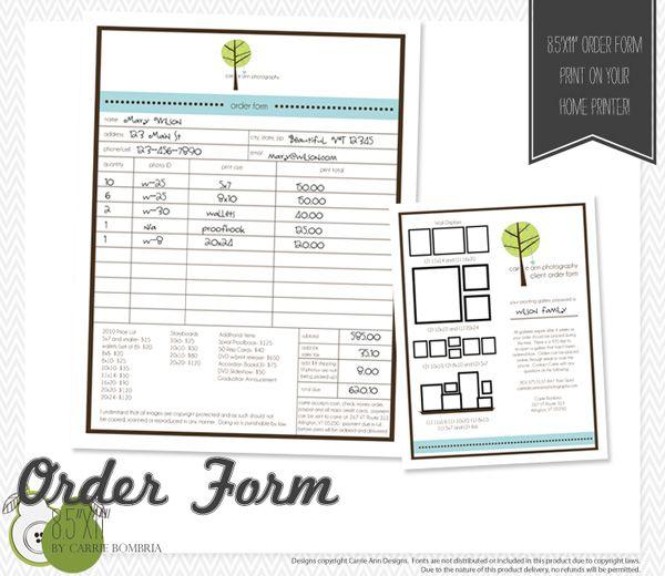 Order Form Print Pinterest Order form, Photography and - photography order form