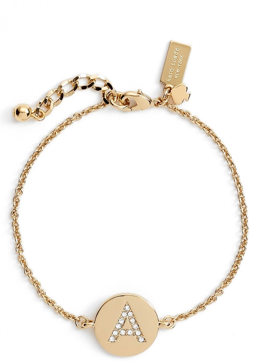 The crystals on this dainty kate spade initial charm bracelet add the crystals on this dainty kate spade initial charm bracelet add just the perfect amount of mozeypictures Image collections