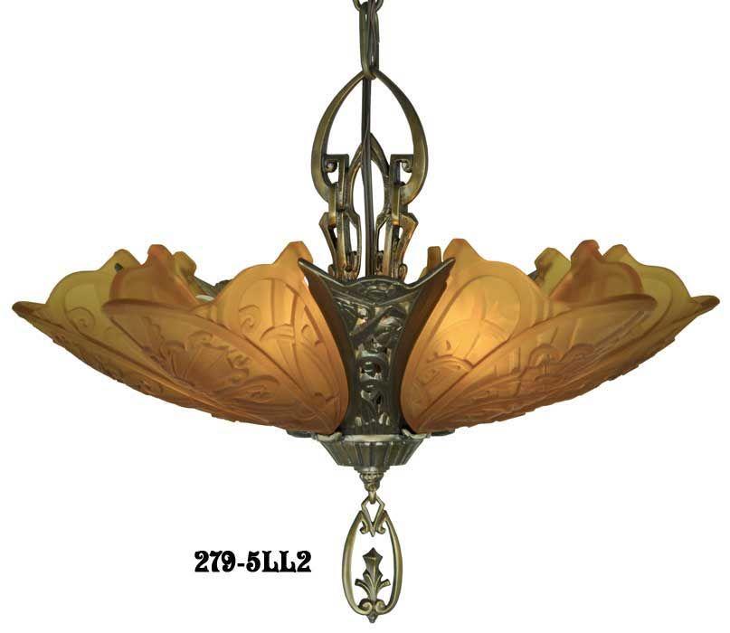Art Deco Chandeliers Fixtures Slip Shade Medieval Family 5