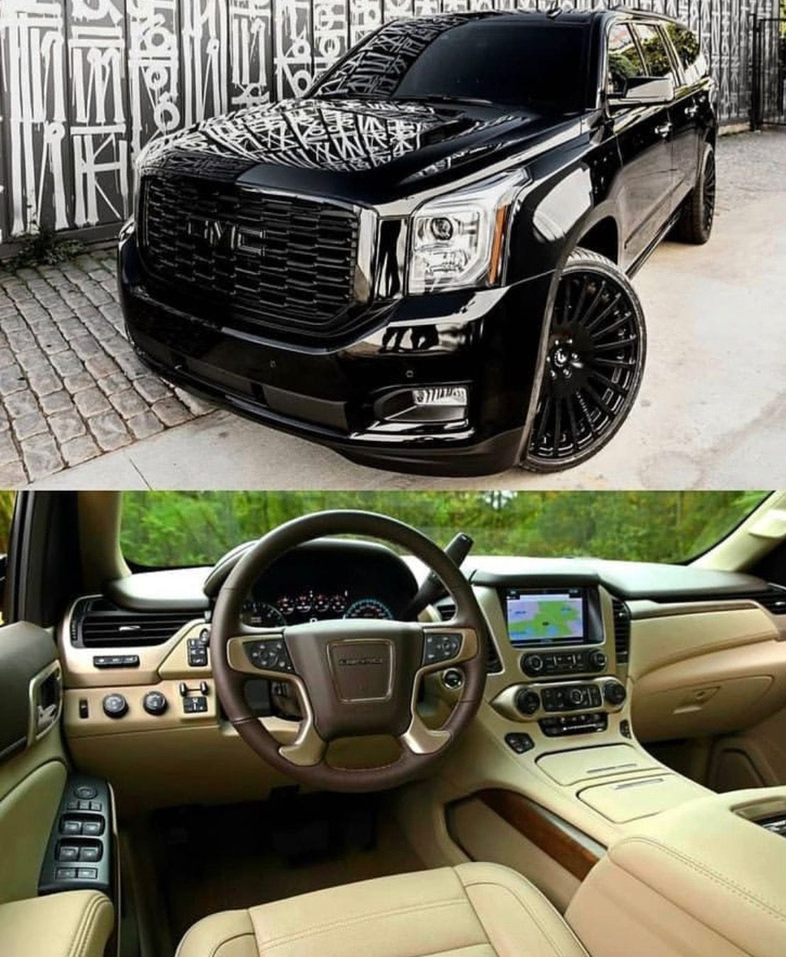 Black Yukon Denali Mocha Interior Custom Wheels Ridiculously
