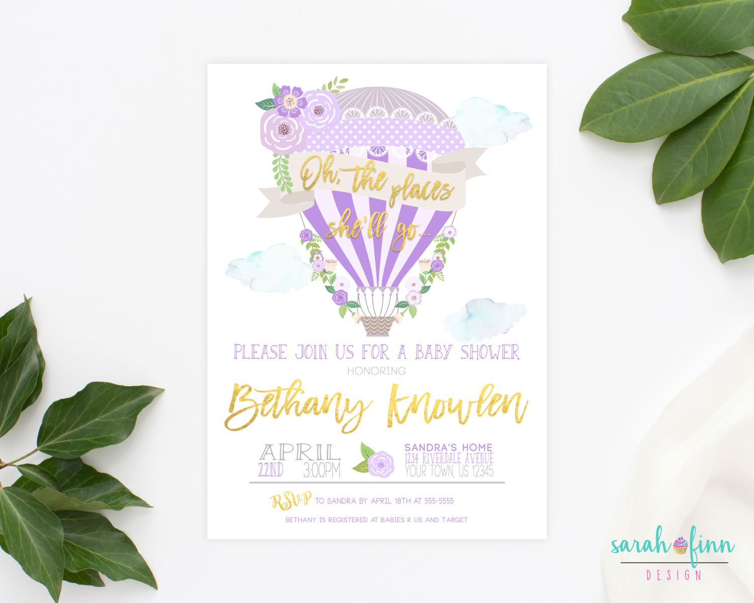 Hot Air Balloon Baby Shower Invitation, Oh The Places She\'ll Go ...