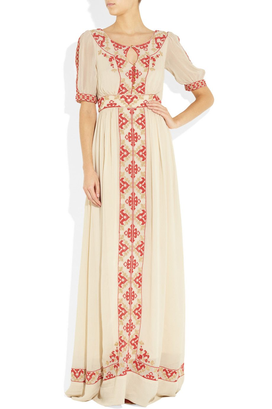 Embroidered crepe maxi dress add arm covers longsleeved