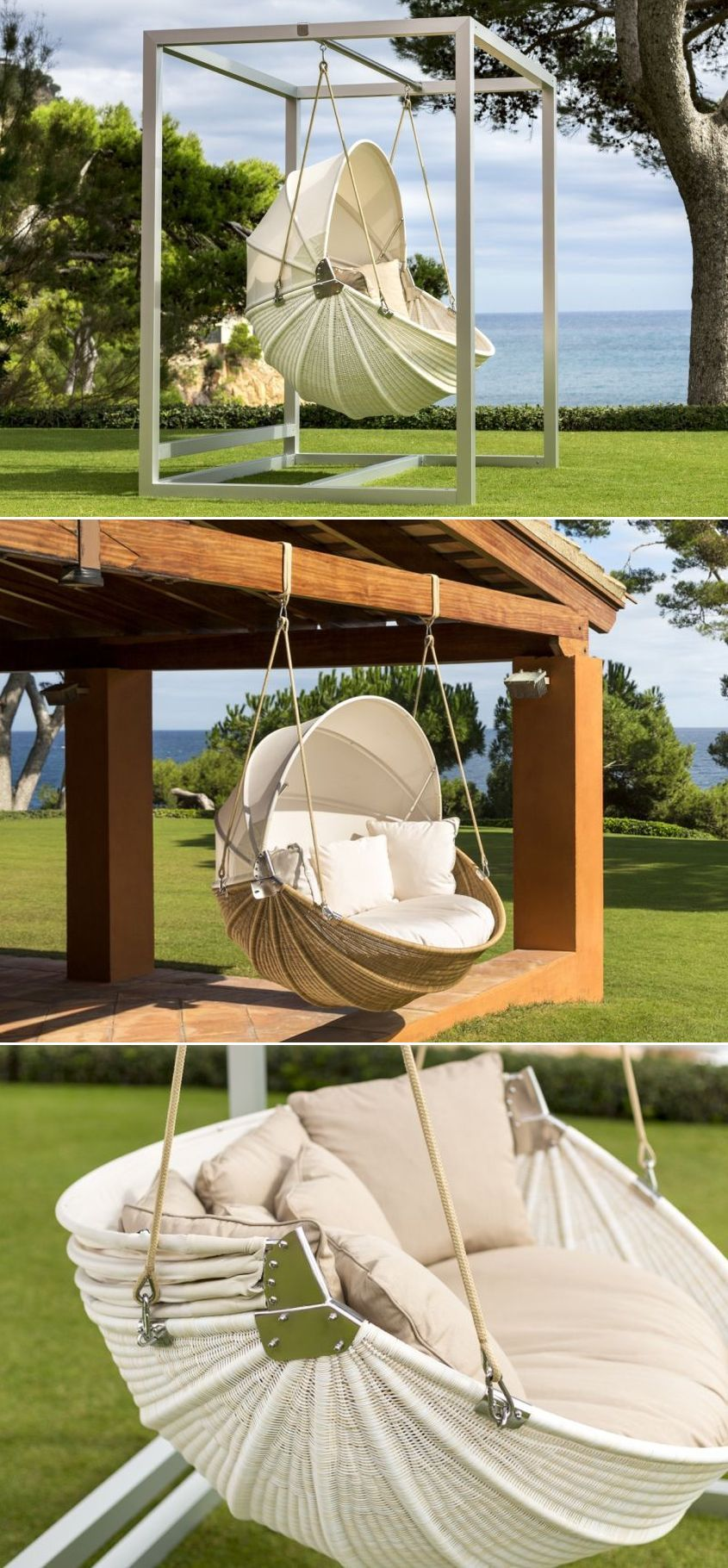 Armadillo swinging garden chair screams comfort and style