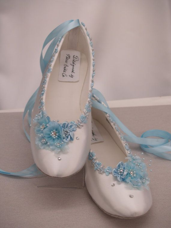 7bbdcef64c9 Blue Wedding Flats White Satin Shoes - Blue Bridal Flat shoes ...