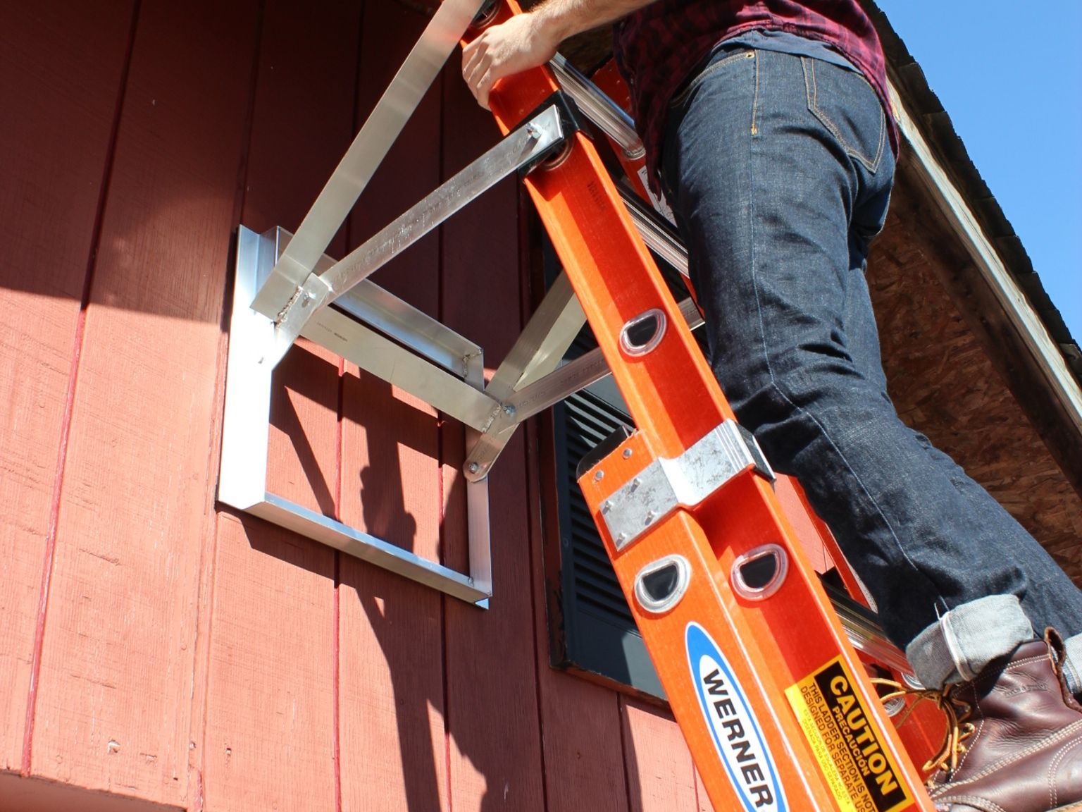 An Extra Set Of Hands To Secure Ladders On All Roofs Walls And Clears Gutters To Eliminate Damage Work Safer At Home A Ladder Ladder Accessories Wall Ladders