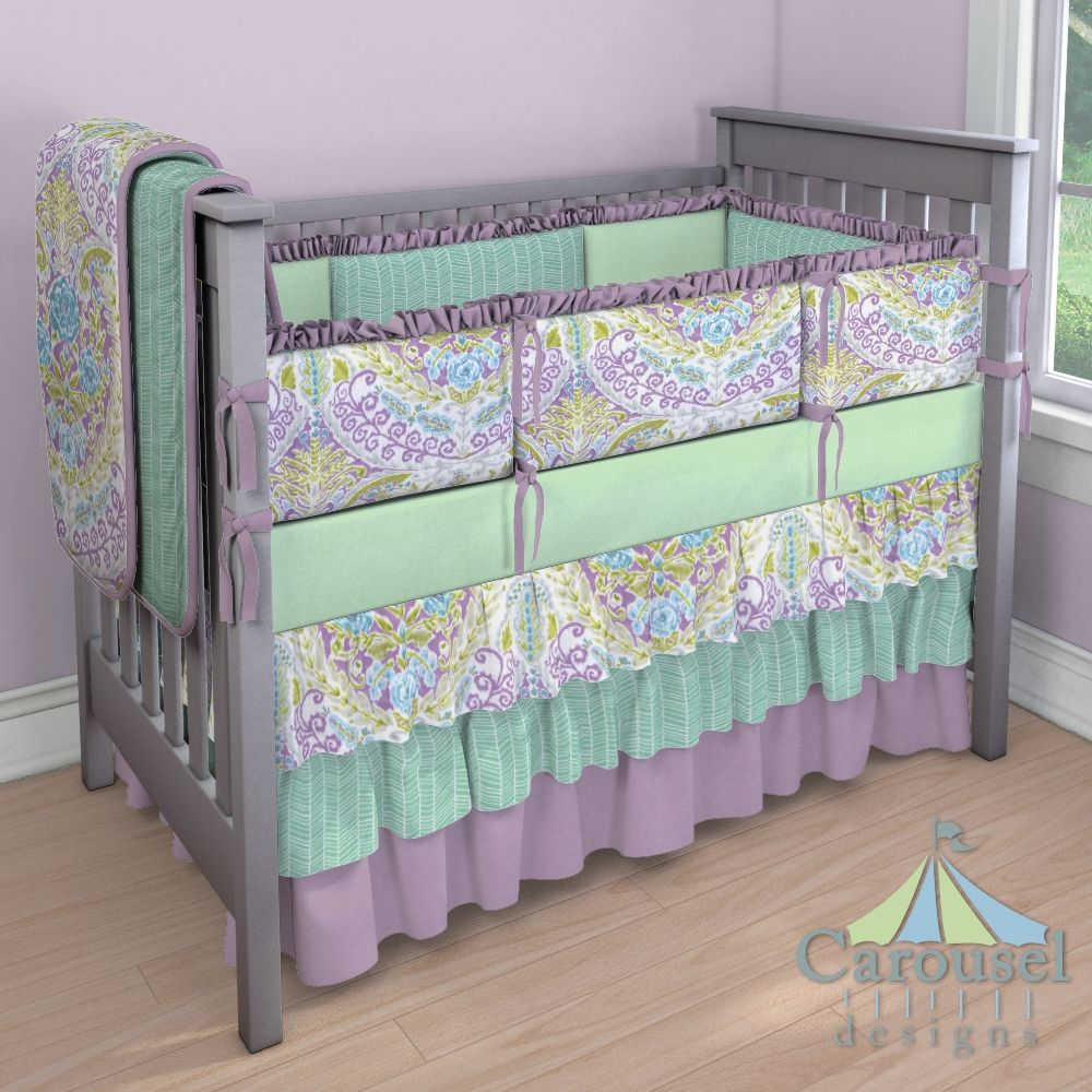 Crib bedding in Mint Herringbone, Aqua and Purple Jasmine ...
