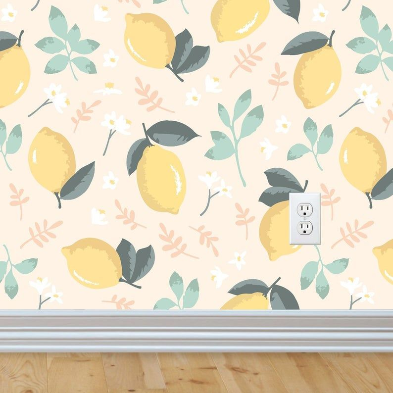 Lemon And Mint Wallpaper Peel And Stick Wallpaper Fruit Etsy Mint Wallpaper Lemon Decor Wallpaper