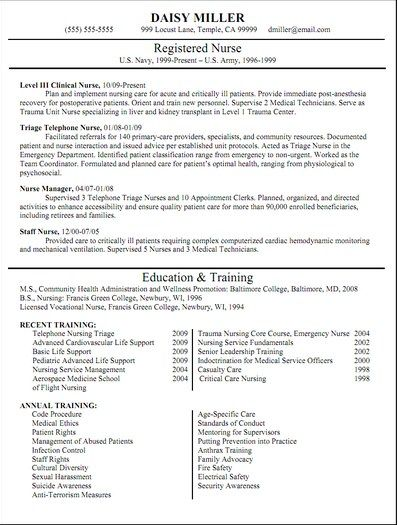 Registered Nurse Resume Templates -    getresumetemplateinfo - resume templates for job