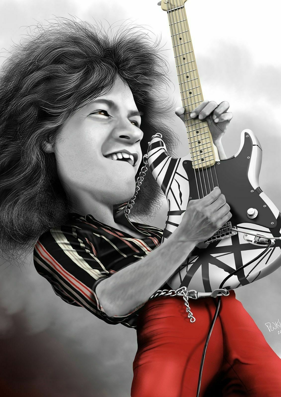 Art Print Poster Canvas Eddie Van Halen Caricature Ebay In 2020 Caricature Eddie Van Halen Celebrities Funny