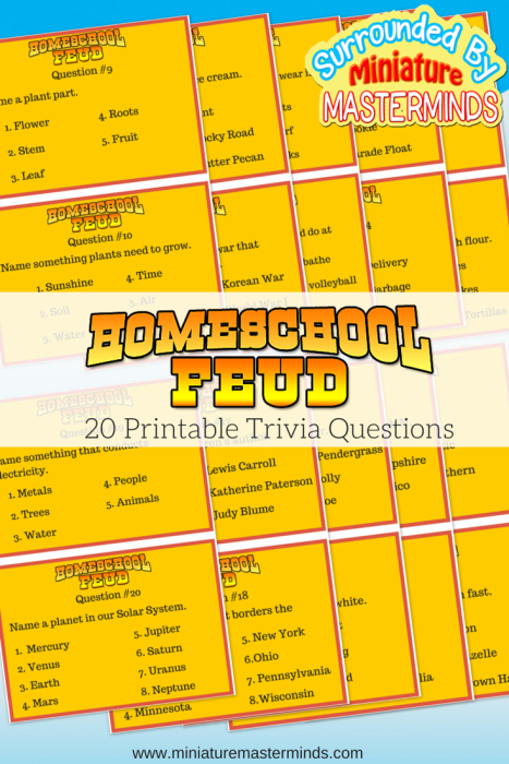 Home School Feud Free Printable Trivia Game This or