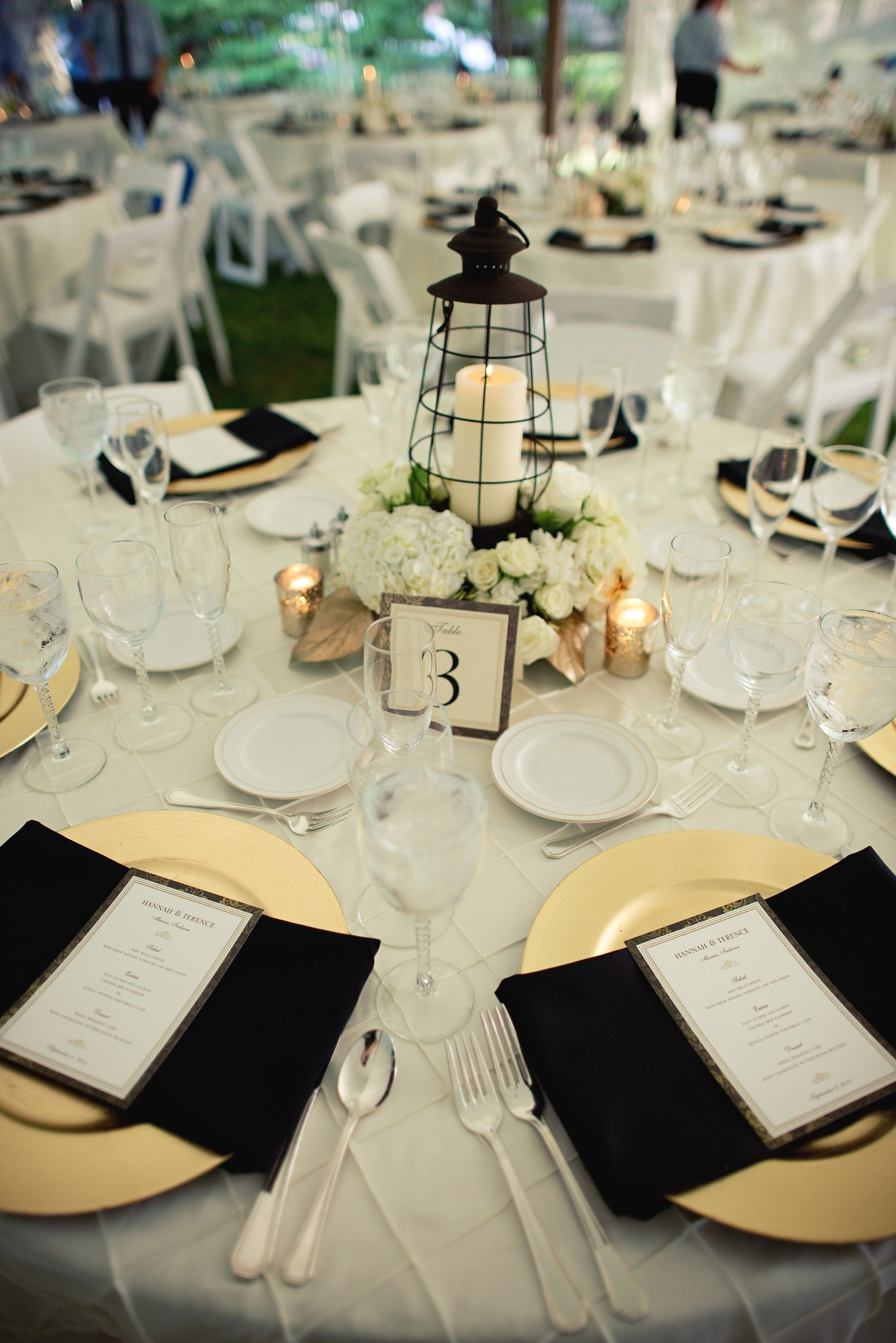 Lantern Centerpieces | Ivory Gold Black Wedding | Wedding Paper ...