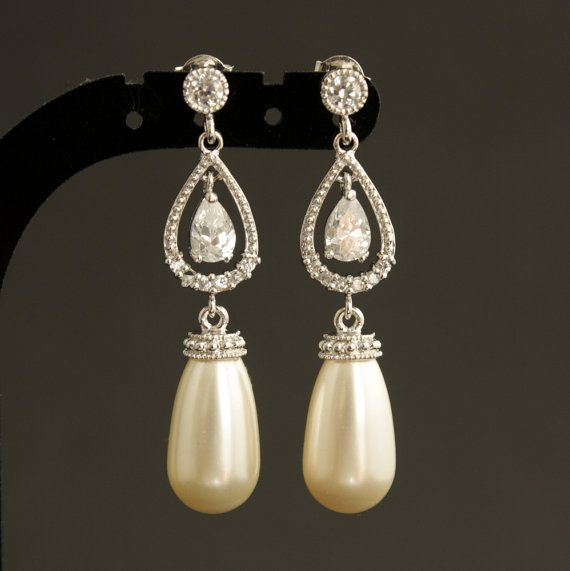 Pearl Jewelry Cream Ivory Earrings Cubic By Poetryjewelry 45 00