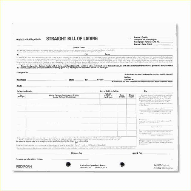 Straight Bill Of Lading Form Template  Bill Of Lading Forms
