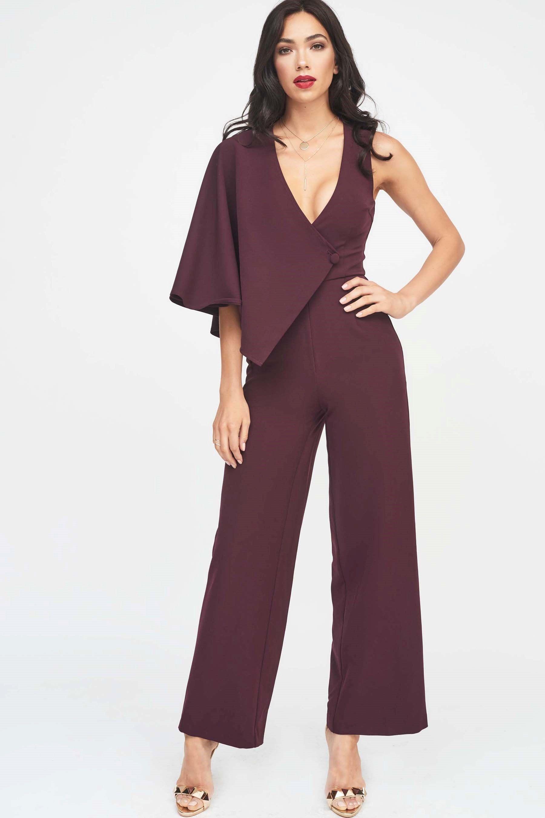 744c160f184a Womens Lavish Alice Draped Sleeve Wide Leg Jumpsuit - Purple ...
