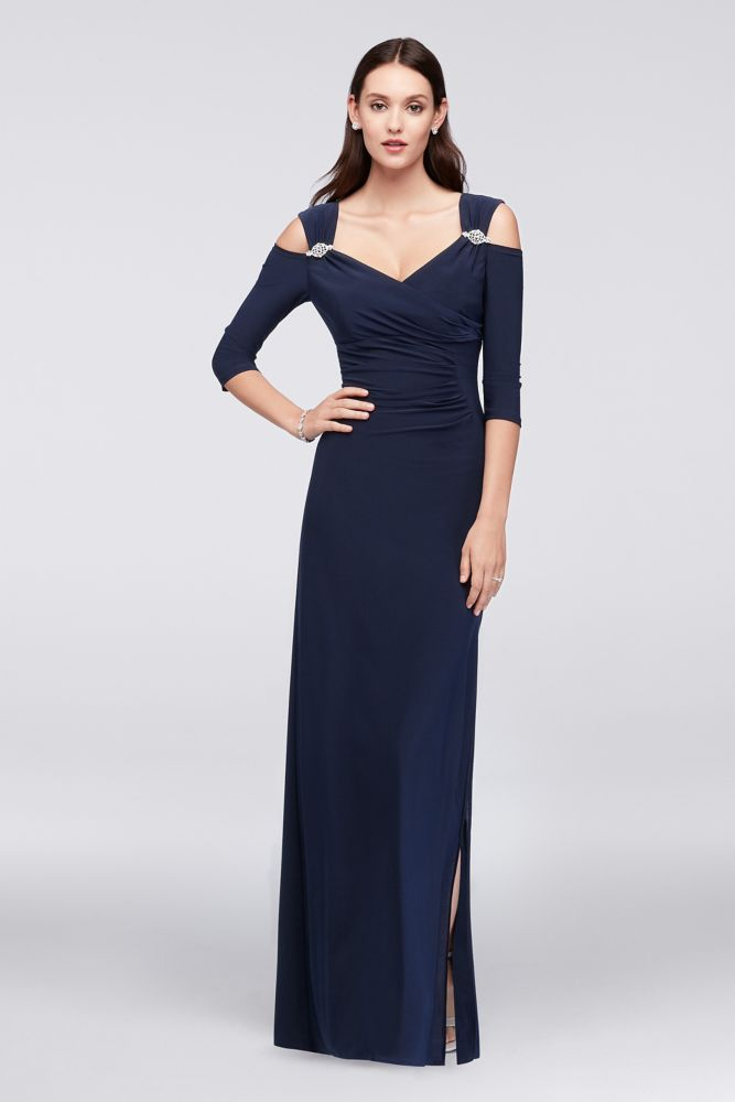 7ac9bdce9cf18 Cold Shoulder Jersey Mother of Bride Groom Gown with Crystal Accents - Navy  (Blue)