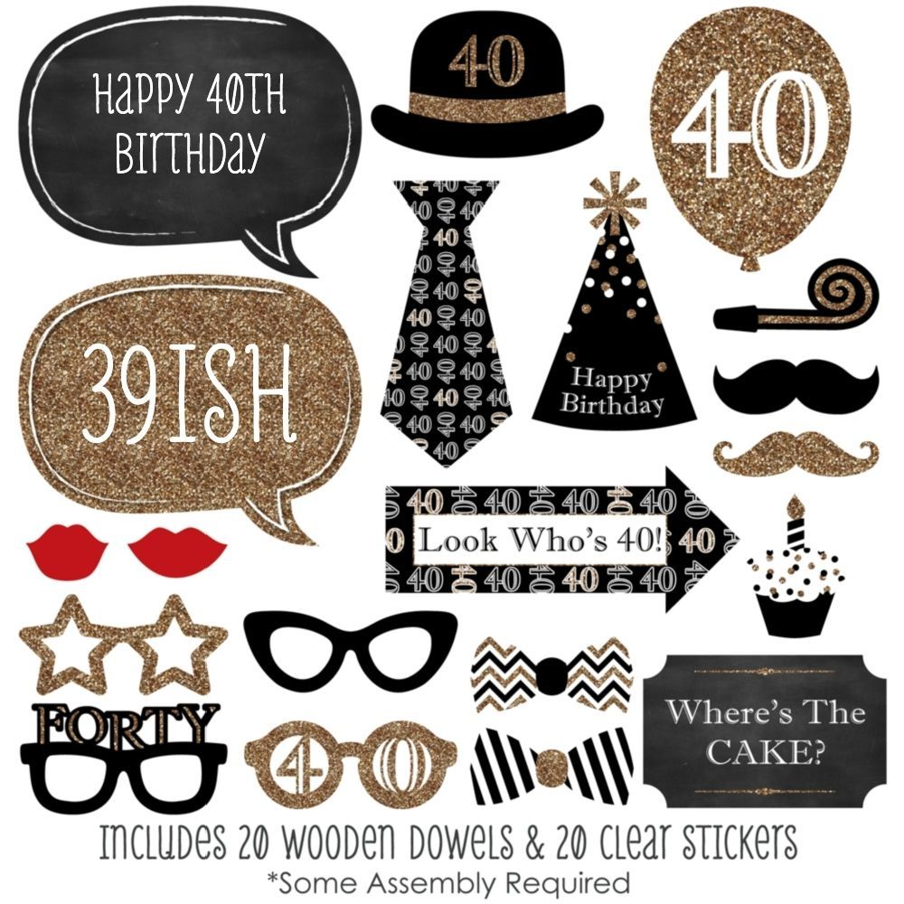 Adult 40th Birthday Party - 20 Piece Photo Booth Prop Kit #BigDotofHappiness #Birthday