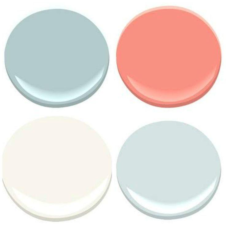 coral and aqua paint colors: ocean air, coral gables, seafoam