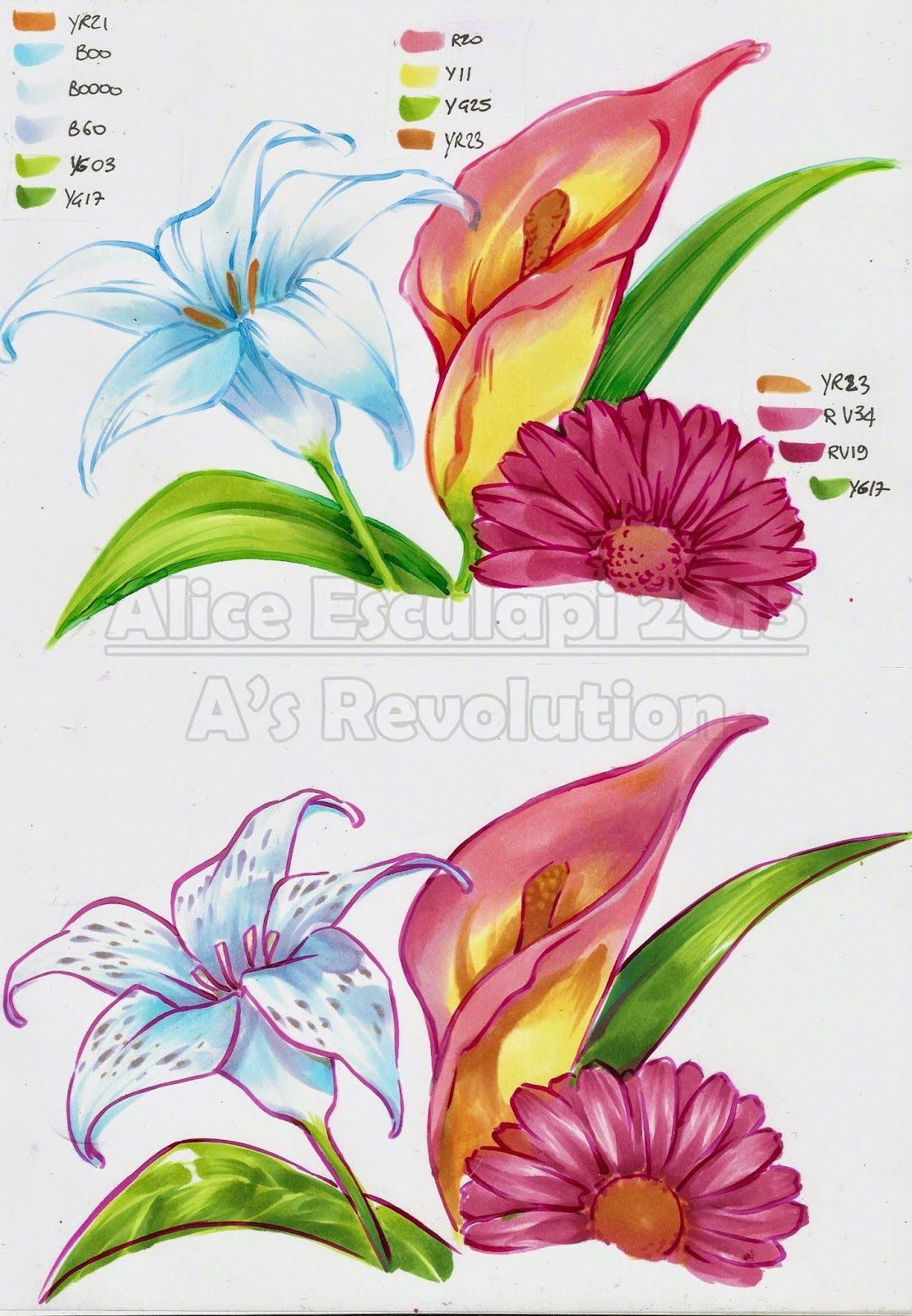 colouring flowers with copic , copic italia blog