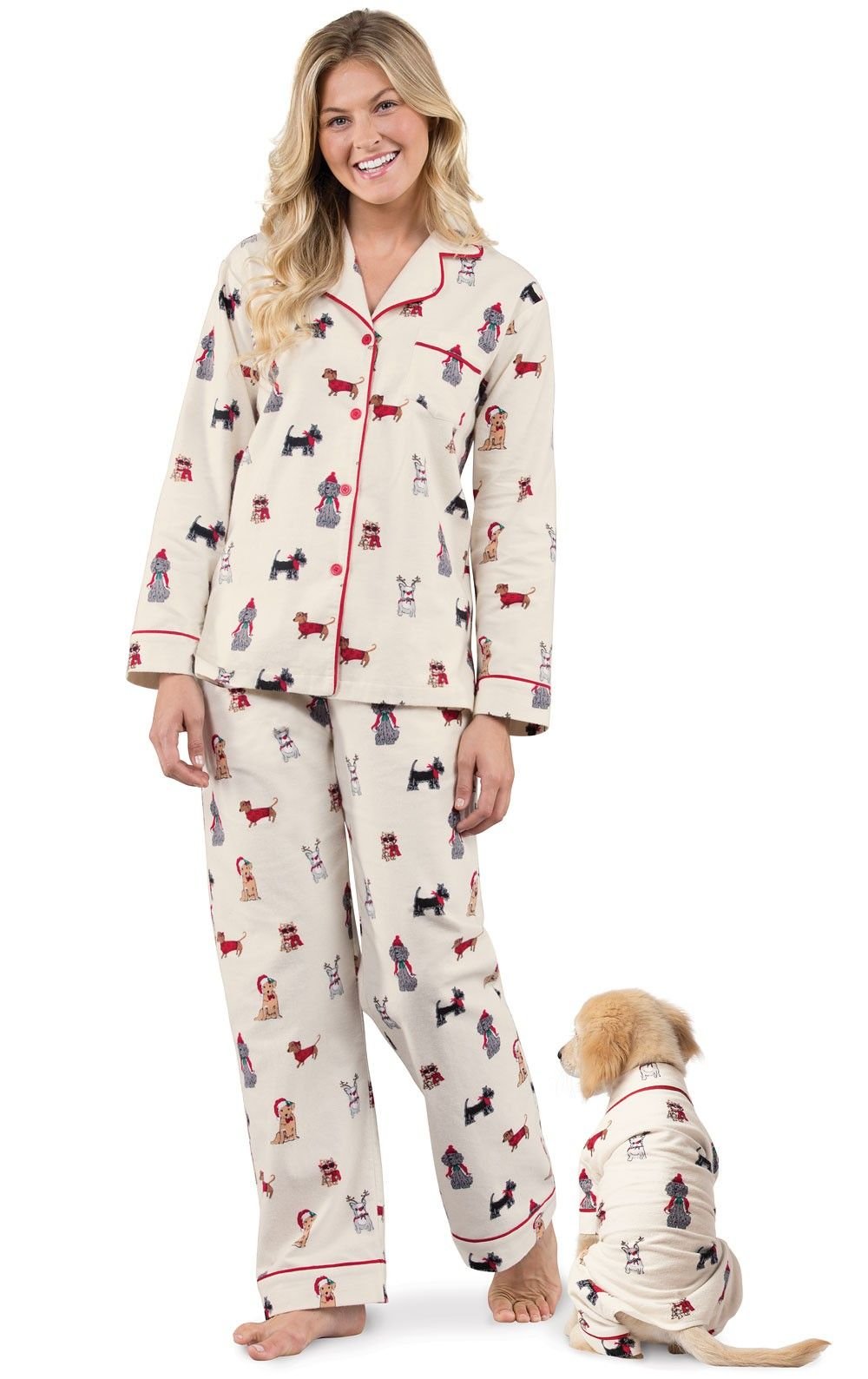 Christmas Dog Print Flannel Pajamas for Dog & Owner in