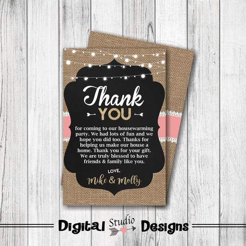 Housewarming Party Thank You Card Home Sweet Home Thank You Card Burlap Lace Country Thank You Card Digital Personalized Double Sided Paperie Prin House Warming Joy Gifts House Warming Gifts