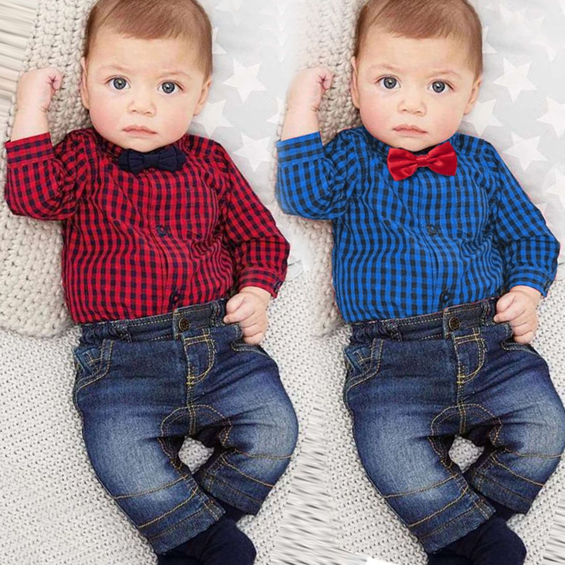 8dc327b03 Kids Baby Boy Clothes Romper Tops+Jeans Pants 2PCS Outfit Set US ...
