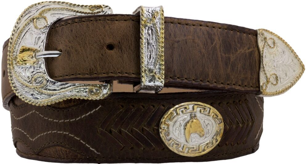 Mens LEATHER CONCHO WESTERN cowboy rodeo belt