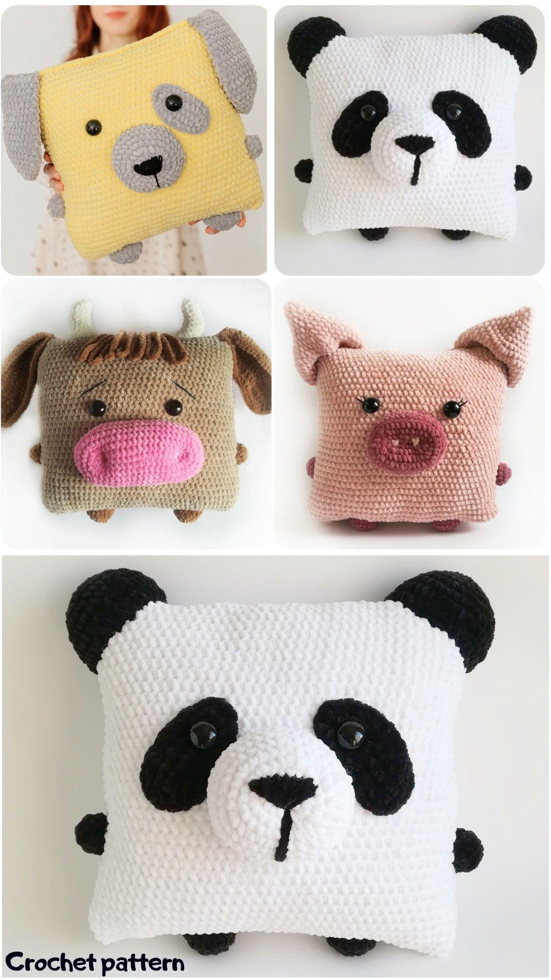 crochet pillow, amigurumi pattern, amigurumi panda, crochet dog, amigurumi pig, crochet bull